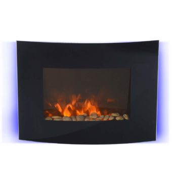 HOMCOM Electric Wall Mounted Fireplace LED Curved Glass