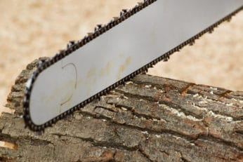 close-up of a chainsaw blade