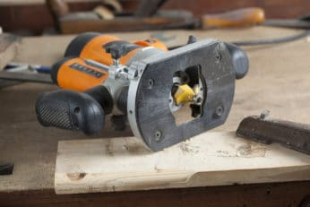 close-up of a woodworking router