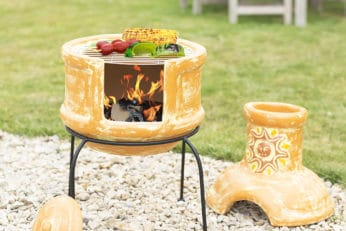 cooking food in a clay chiminea